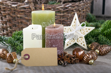 card label copy space burning candles