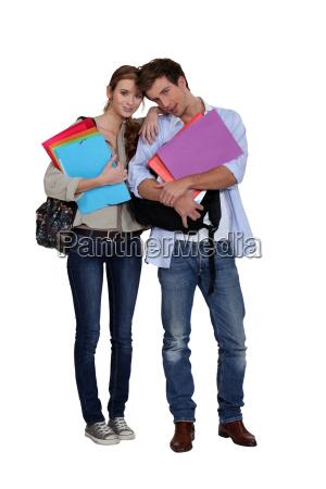 los estudiantes con archivos