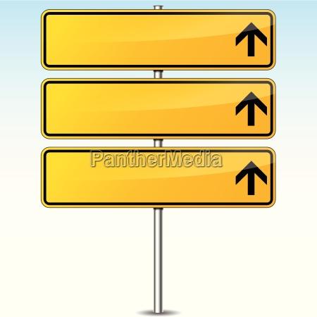 senyal de carretera en blanco amarillo