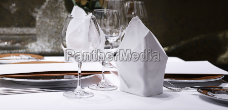 formal dining table set up in