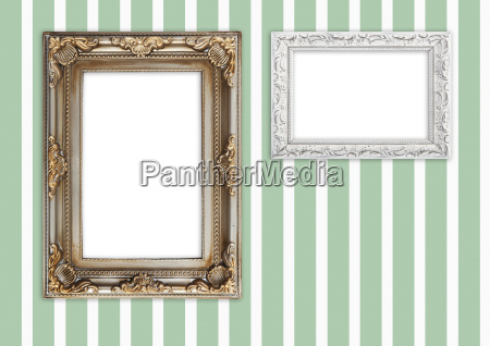 picture frame on striped wall