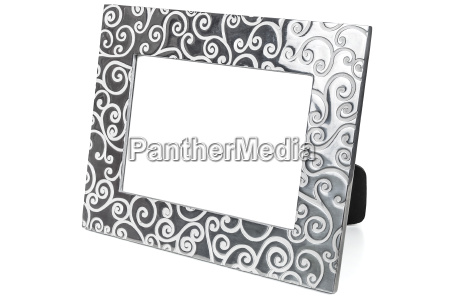 decorative empty photo frame on white