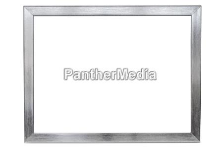 aluminum empty photo frame on white