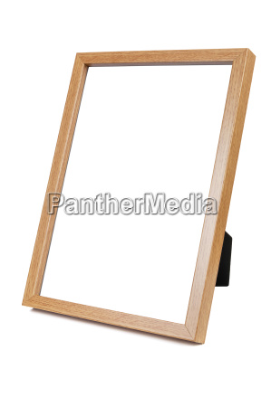 wooden empty photo frame on white