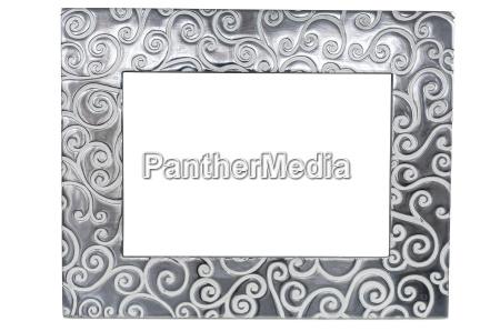 decorative empty photo frame on white