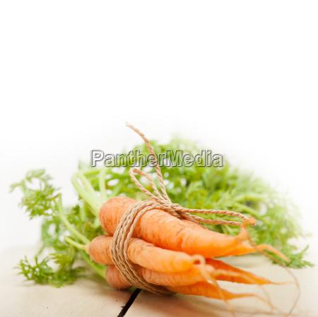 zanahorias bebe manojo atado con cuerda