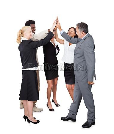 gente de negocios celebrando con un