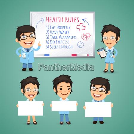 medicos presentando pancartas vacias