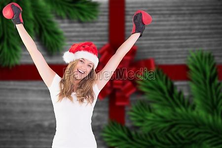 imagen compuesta de rubia festiva con