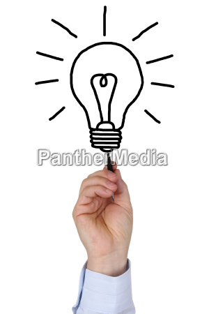 businessman when drawing a light bulb
