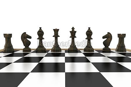 negro piezas de ajedrez en una