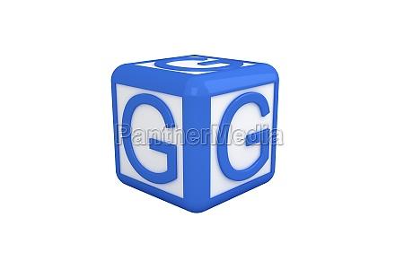 azul ilustracion digital carta cubo bloque