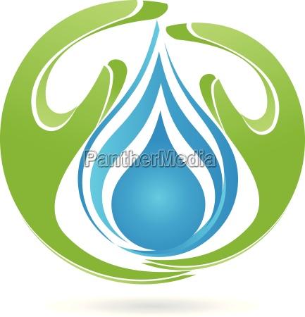 logotipo manos gota el agua
