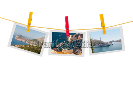 three photos of dubrovnik on clothesline