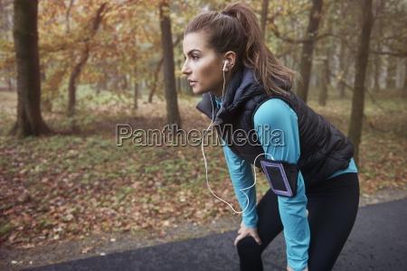 hard workout in autumn season