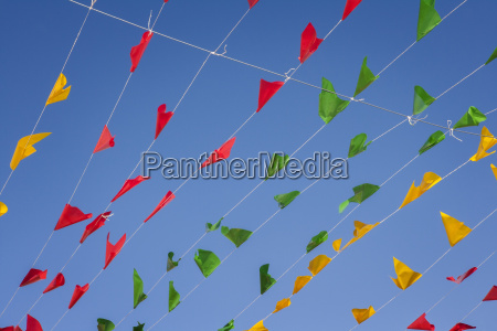 bunting colorful party flags on a