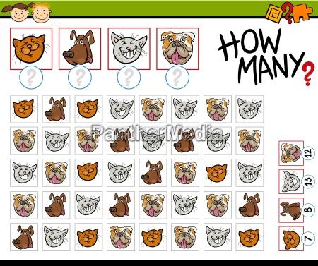 contando juego ilustracion de dibujos animados