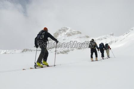 tour de esquiadores en el backcountry