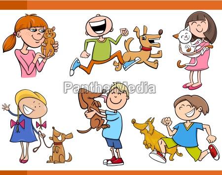 ninyos con animales de dibujos animados