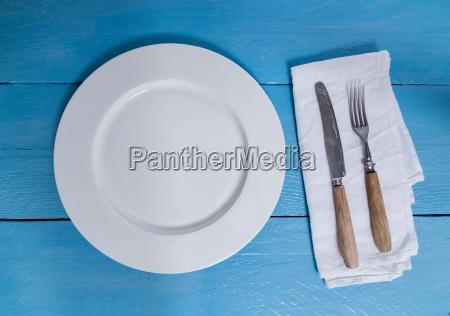 azul placa tenedor servilleta tabla de
