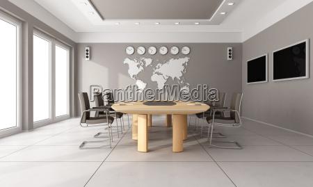oficina enorme muebles moderno espacio marron