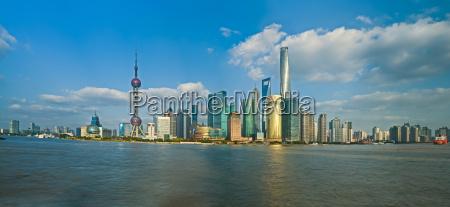 china shanghai pudong distrito skyline