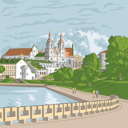 vector sketch of a old town