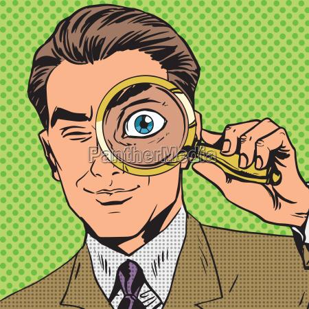 el hombre es un detective mirando