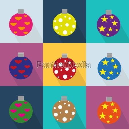 christmas icons set decorated with ornaments