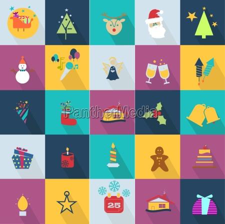 iconos navidenyos fijados con objetos tipicos