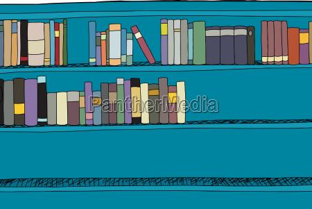 azul ilustracion en blanco informacion estante