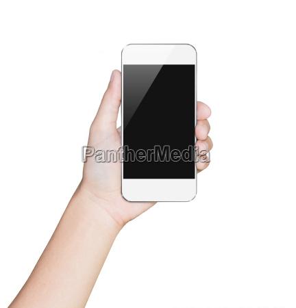 closeup hand hold smartphone white mobile