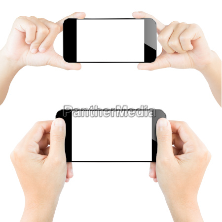 closeup hand hold smartphone white isolated