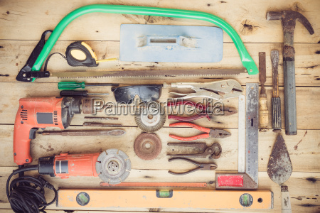 old household equipment group set on