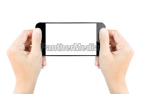 closeup hand hold smartphone show screen