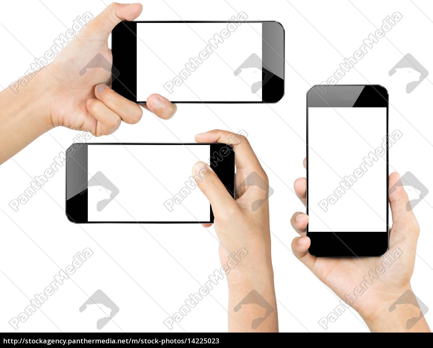 primeros, planos, mano, hold, smartphone, blanco - 14225023