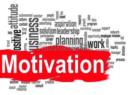 motivacion palabra nube con bandera roja
