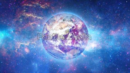 planeta tierra con sol en universo