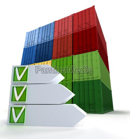 contenedores de carga y lista de