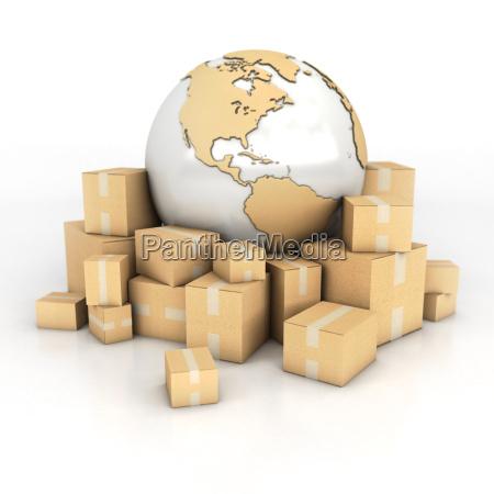 tierra y cajas de carton en