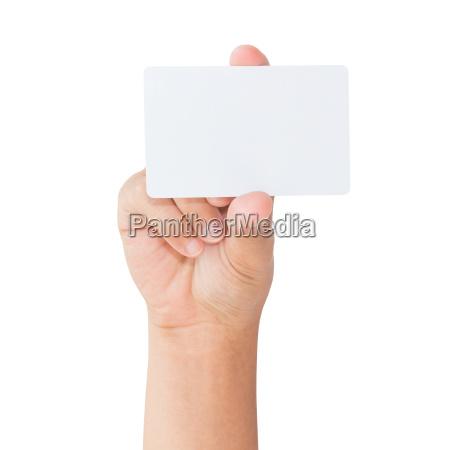 mano sostener tarjeta blanca en blanco