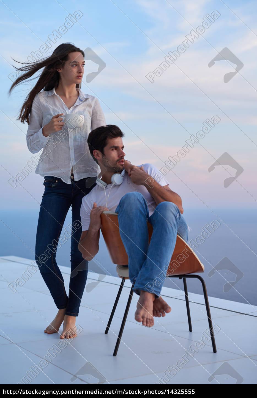 feliz, joven, pareja, romántica, divertirse, arelax - 14325555