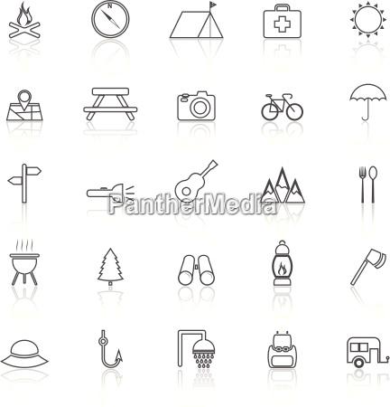 iconos de lineas de camping con