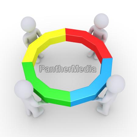 cuatro personas sosteniendo un circulo completo