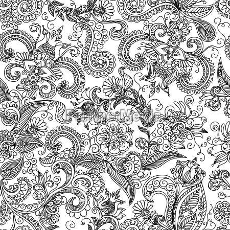 patron floral sin costuras en negro