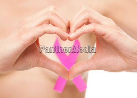 woman with a breast cancer awareness