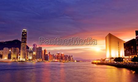 hermoso paisaje urbano de hong kong