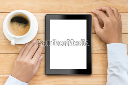 business man using tablet white screen