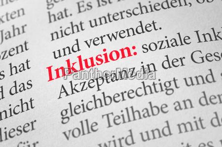 diccionario con el termino inclusion