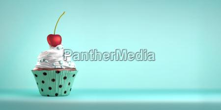 delicioso cupcake cubierto con una cereza